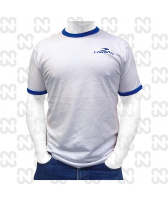 T-SHIRT LONGONI BIANCO CON PROFILI BLU ROYAL COTONE 100%-TAGLIA XL